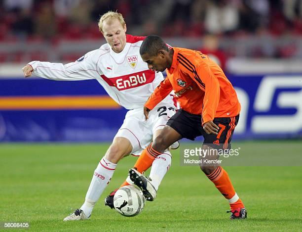 Stuttgarts Ludovic Magnin battles for the ball against Fernandinho of Shakhtar Donetsk during the UEFA Cup Group G match between VfB Stuttgart and...