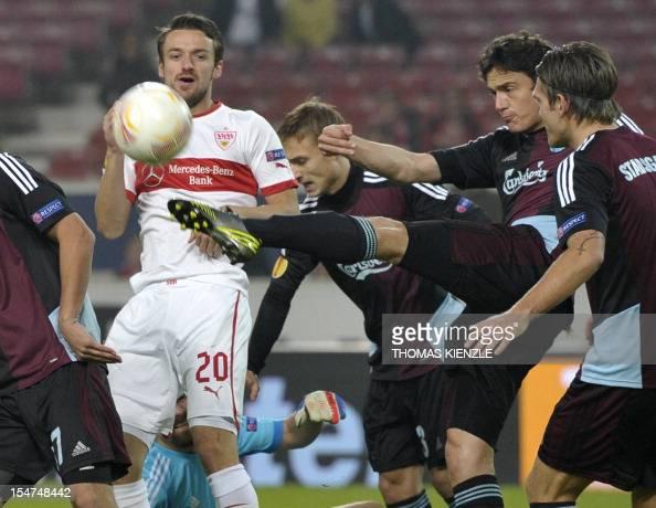 Stuttgart's midfielder Christian Gentner and Kobenhavn's midfielder Thomas Delaney during the UEFA Europa League Group E football match VfB Stuttgart...