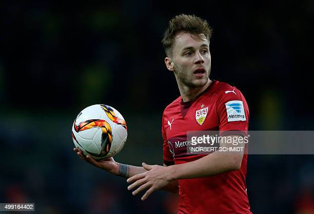 Stuttgart's Rumanian midfielder Alexandru Maxim holds the ball during the German first division Bundesliga football match Borussia Dortmund vs VfB...