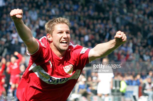 Stuttgart's Thomas Hitzelsperger celebrates his goal during the First League match between VfL Bochum and VfB Stuttgart at the Rewirpower stadium on...