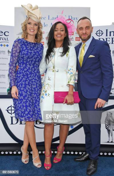 Style Award winner Abigail Scott speaks with presenters Charlotte Hawkins and Mark Heyes during Ladies Day of the 2017 Investec Derby Festival at The...