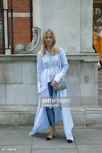 Style blogger Diana BellHeather wears a Steve J and Yoni P shirt dress Steve J and Yoni P jeans and Chanel shoes on day 3 of London Womens Fashion...