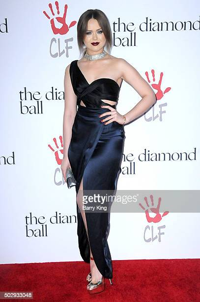 Style blogger Kristina Bazan attends the Rihanna And The Clara Lionel Foundation 2nd Annual Diamond Ball at The Barker Hanger on December 10 2015 in...