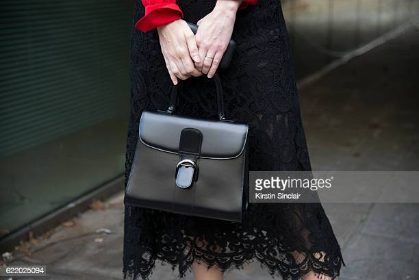Style director at Architectural Digest Jane Keltner de Valle wears a Dolce and Gabbana skirt Derek Lam shirt and Delvaux bag day 4 of London Womens...