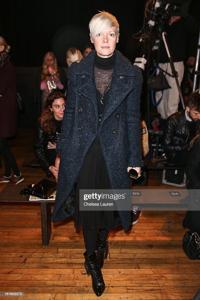 Style director of T The New York Times Style Magazine Kate Lanphear attends the Philosophy By Natalie Ratabesi fall 2013 fashion show during...