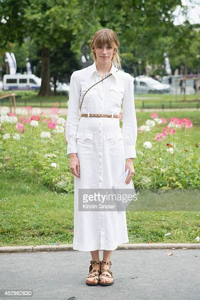 Style Editor at Harperâs Bazaar Germay Veronika Heilbrunner wearing an Alessandra Rich dress Chanel bag Tom Ford sunglasses and Celine shoes day 3 of...