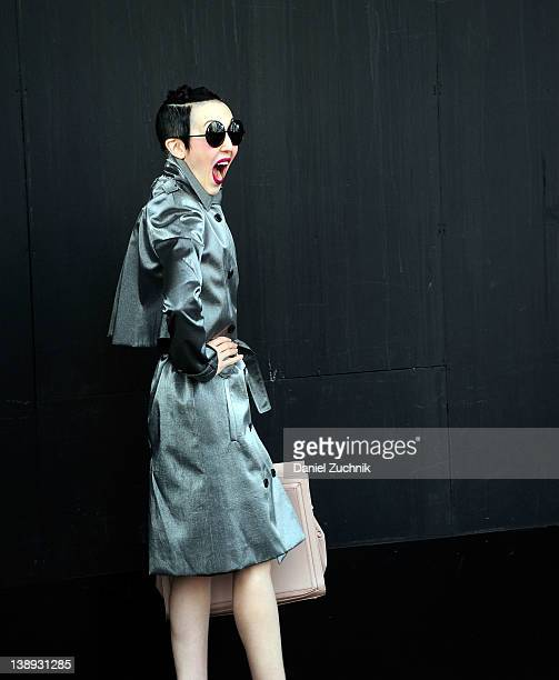 Style icon Michelle Harper poses at the Theyskens Theory show on February 13 2012 in New York City