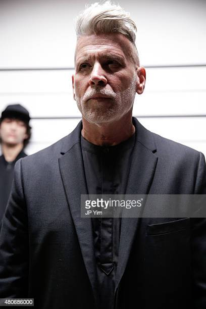 Style icon Nick Wooster poses at the Public School Presentation during New York Fashion Week Men's S/S 2016 at Skylight Clarkson Sq on July 14 2015...