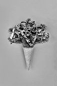 black abd white. Christmas tree in ice cream cone on a background. Christmas. New Year. Style minimalism