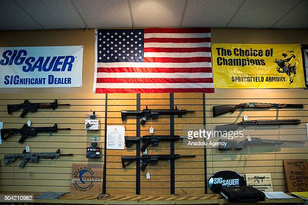AR15 style rifles and shotguns for sale at Blue Ridge Arsenal in Chantilly Va USA on January 9 2015