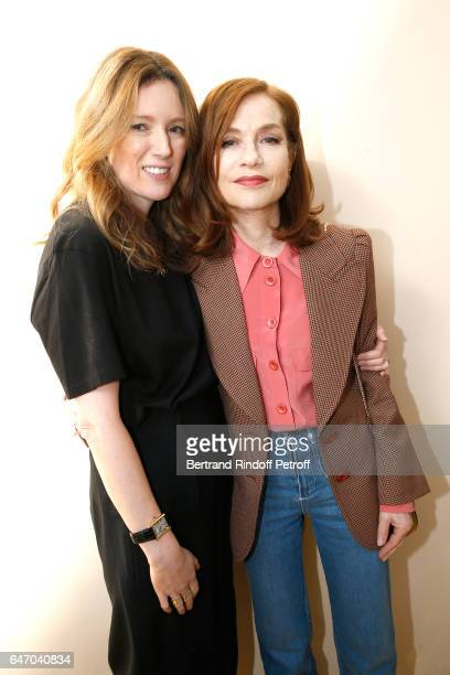 Stylidt Clare Waight Keller and Isabelle Huppert pose backsytage after the Chloe show as part of the Paris Fashion Week Womenswear Fall/Winter...