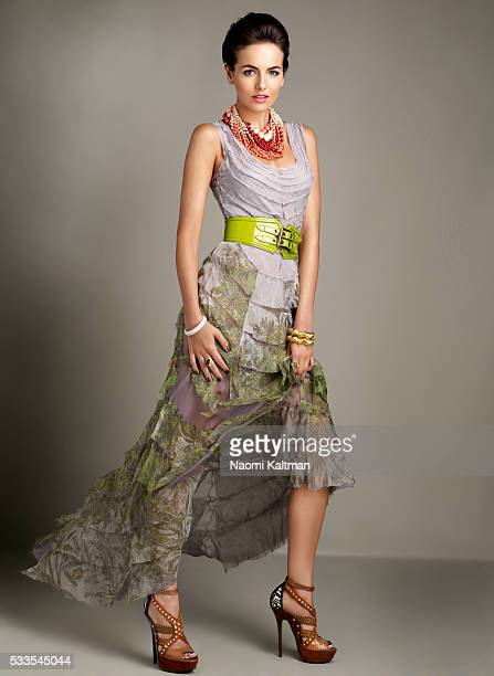 Maurico Valdespino Hair Roque Makeup Brett Freedman Dress by Alberta Ferretti belt by Burberry Prorsum bracelets and necklace by Bauble Bar green...
