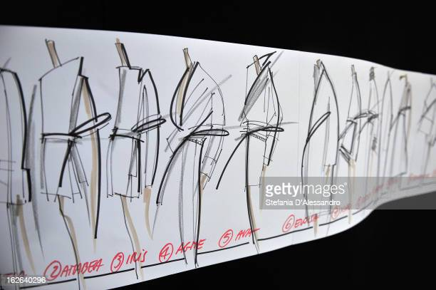 Styling sketches are displayed backstage at the Gianfranco Ferre fashion show as part of Milan Fashion Week Womenswear Fall/Winter 2013/14 on...