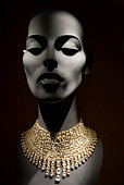 Stylised Mannequin and diamond necklace