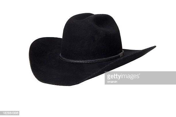 A stylish black cowboy hat with upturned rims