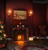 3D render of a stylish decorated living room with a fireplace in a family home with a Christmas tree.