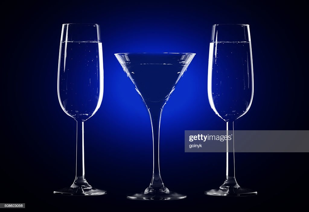Stylish composition of three glasses : Stock Photo