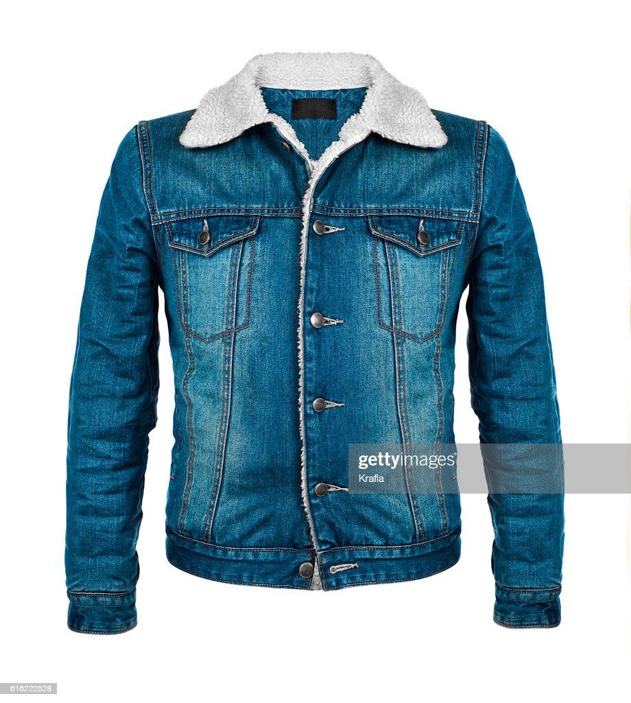 stylish denim jacket in the cool season : Stock-Foto