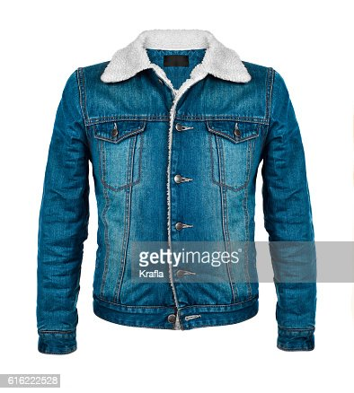 stylish denim jacket in the cool season : Stock-Foto
