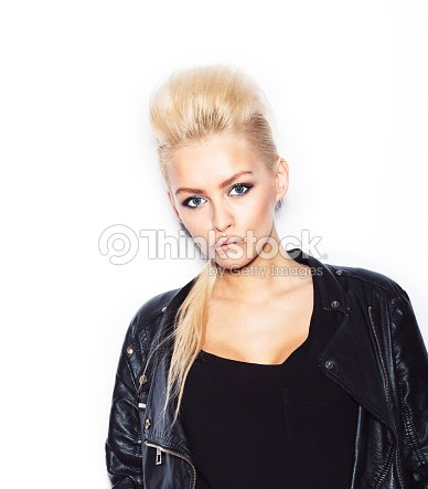 f8d6d220e Stylish Fashionable Blonde Woman In Black Clothes Stock Photo ...