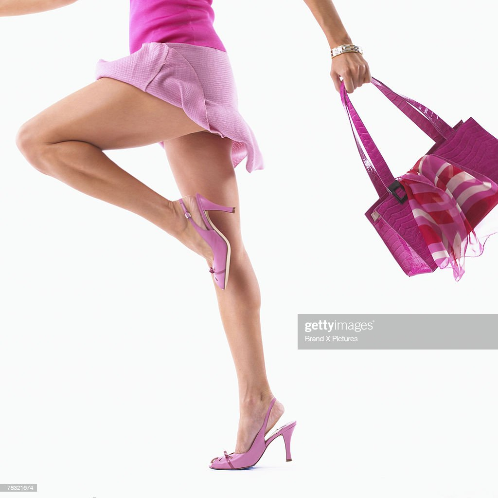 Stylish Girl-on-the-Go in Pink : Stock Photo