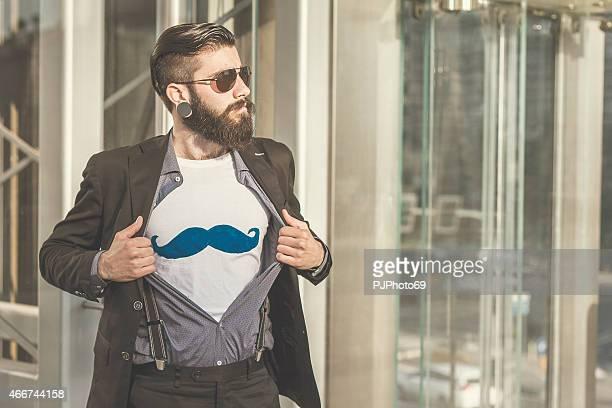 スタイリッシュなヒップスターを見せる mustaches の t シャツ