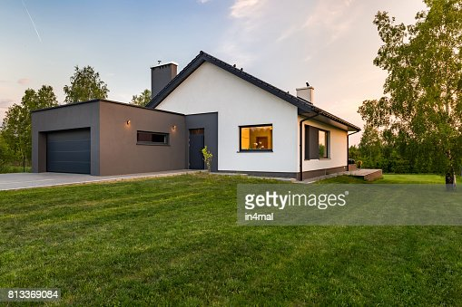 Stylish house with large lawn : Stock Photo