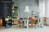 Stylish,industrial and big kitchen table in loft