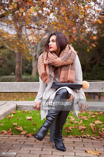 Stylish Woman Waiting in the Park