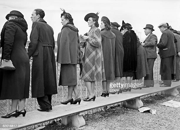 Stylish women look to horses 29 January 1939 on Vincennes racecourse few months before the begining of World War II B/W N/B