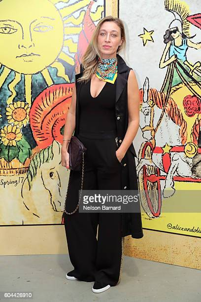 Stylist Alana Hadid attends the Alice Olivia By Stacey Bendet fashion show during New York Fashion Week September 2016 at The Gallery Skylight at...