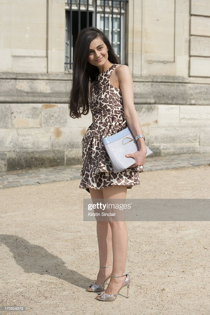 Stylist and fashion editor for Harper's Bazaar Russia Natalia Alaverdian wears a Dior bag, A.W.A.K.E dress, Stella McCartney shoes on day 1 of Paris Collections: Womens Haute Couture on July 01, 2013 in Paris, France.