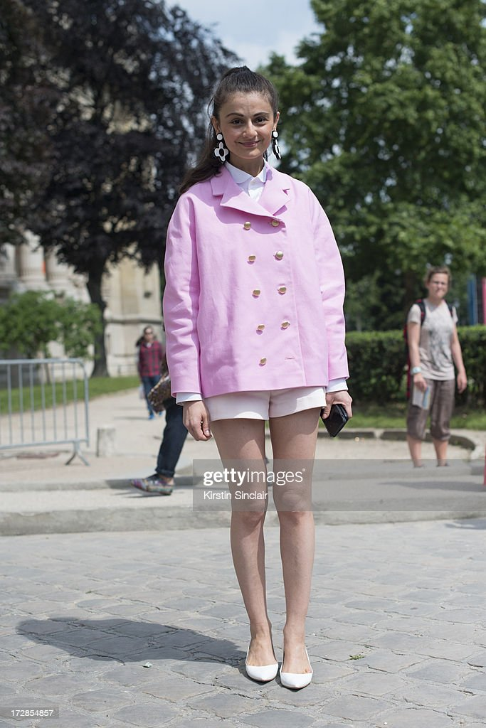 Stylist and fashion editor for Harper's Bazaar Russia Natalia Alaverdian wears Jimmy Choos hoes, Awake jacket, marni earrings and zara shorts on day 2 of Paris Collections: Womens Haute Couture on July 02, 2013 in Paris, France.