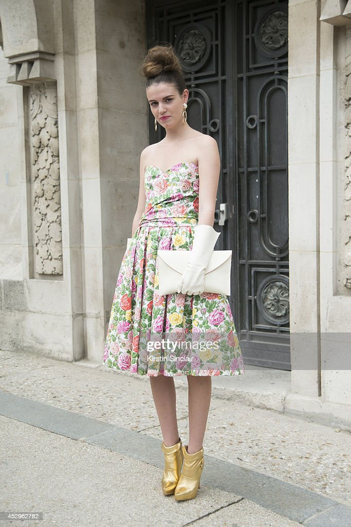 Stylist and Fashion Writer Michelle Verpuggi wearing an Yves Saint Laurent dress, vintage clutch bag and gloves and Anna Dello Russo for H and M shoes day 3 of Paris Haute Couture Fashion Week Autumn/Winter 2014, on July 8, 2014 in Paris, France.
