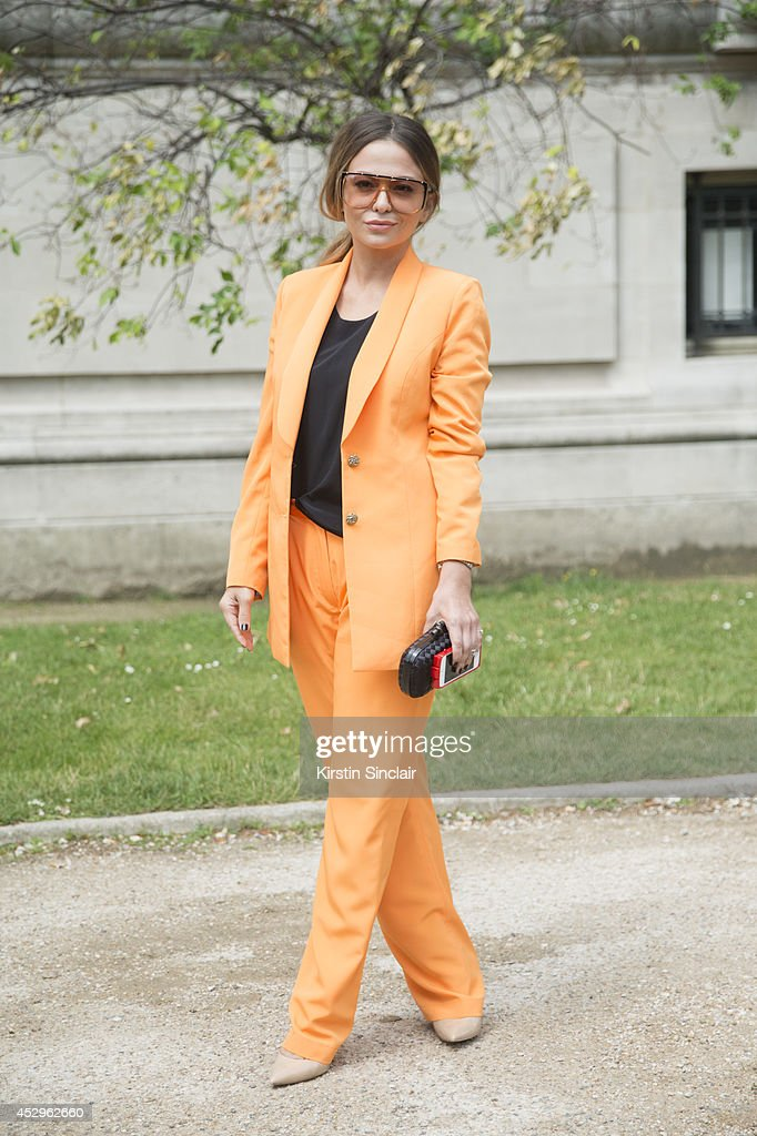 Stylist and Make Up Artist Yana Fisti wearing Gucci sunglasses Stella McCartney suit and top Bottega Veneta bag and Aldo shoes day 3 of Paris Haute...