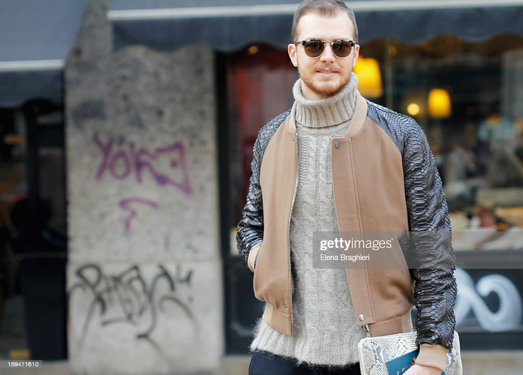 Stylist Andrea Porro is seen during Milan Fashion Week on January 12, 2013 in Milan, Italy. He's wearing a Les Hommes total look.