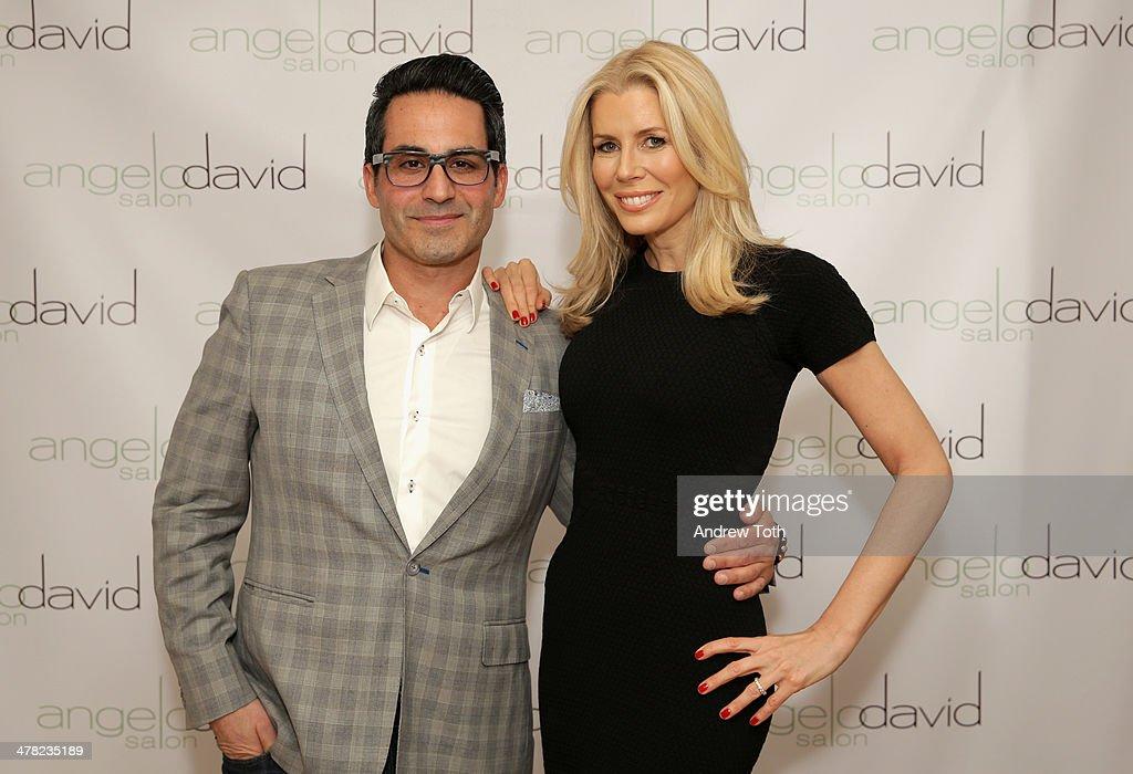 Stylist Angelo David (L) and Aviva Drescher attend Aviva Drescher's 'Leggy Blonde' book launch celebration at Angelo David Salon on March 12, 2014 in New York City.
