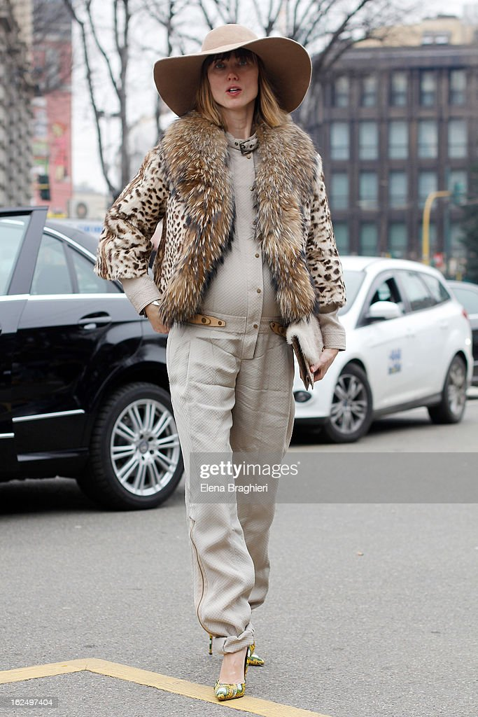 Stylist Anya Ziourova attends the Milan Fashion Week Womenswear Fall/Winter 2013/14 on February 23, 2013 in Milan, Italy.