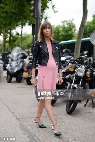 Stylist Anya Ziourova poses in a Dior total look before Dior show on July 7 2014 in Paris France