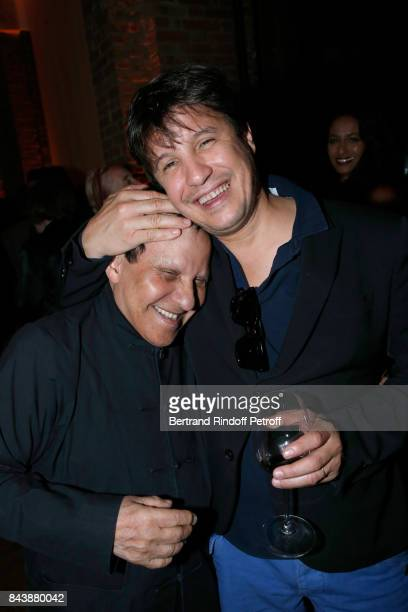 Stylist Azzedine Alaia and artist Adel Abdessemed attend the 'Richard Wentworth a la Maison Alaia' Exhibition Opening at Azzedine Alaia Gallery on...
