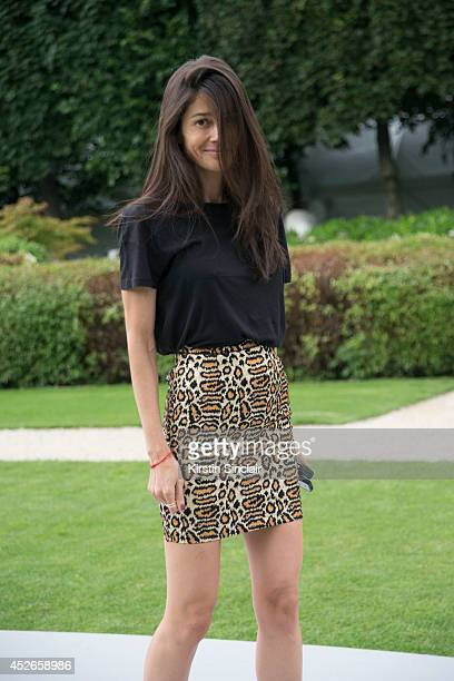 Stylist Barbara Martelo wearing a Saint Laurent skirt and vintage top day 2 of Paris Haute Couture Fashion Week Autumn/Winter 2014 on July 7 2014 in...