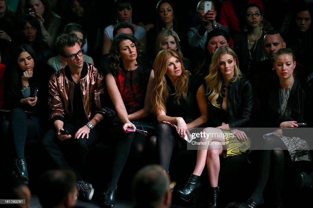 Stylist Brad Goreski, actresses Bridget Moynahan, Connie Britton and Lydia Hearst attend the Monique Lhuillier Fall 2013 Mercedes-Benz Fashion Show at The Theater at Lincoln Center on February 9, 2013 in New York City.