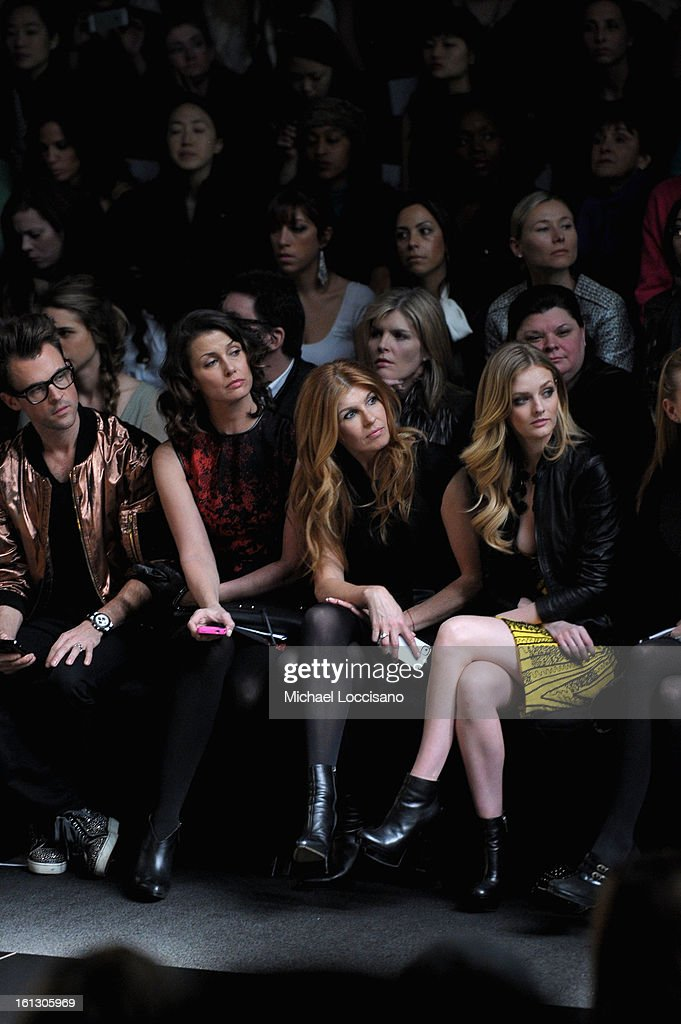 Stylist <a gi-track='captionPersonalityLinkClicked' href=/galleries/search?phrase=Brad+Goreski&family=editorial&specificpeople=3255296 ng-click='$event.stopPropagation()'>Brad Goreski</a>, actresses <a gi-track='captionPersonalityLinkClicked' href=/galleries/search?phrase=Bridget+Moynahan&family=editorial&specificpeople=204689 ng-click='$event.stopPropagation()'>Bridget Moynahan</a>, <a gi-track='captionPersonalityLinkClicked' href=/galleries/search?phrase=Connie+Britton&family=editorial&specificpeople=234699 ng-click='$event.stopPropagation()'>Connie Britton</a> and <a gi-track='captionPersonalityLinkClicked' href=/galleries/search?phrase=Lydia+Hearst&family=editorial&specificpeople=221723 ng-click='$event.stopPropagation()'>Lydia Hearst</a> attend the Monique Lhuillier Fall 2013 fashion show during Mercedes-Benz Fashion at The Theatre at Lincoln Center on February 9, 2013 in New York City.