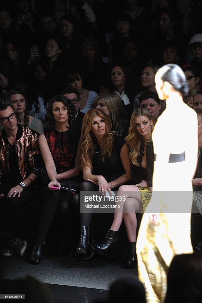 Stylist Brad Goreski, actresses Bridget Moynahan, Connie Britton and Lydia Hearst attend the Monique Lhuillier Fall 2013 fashion show during Mercedes-Benz Fashion at The Theatre at Lincoln Center on February 9, 2013 in New York City.