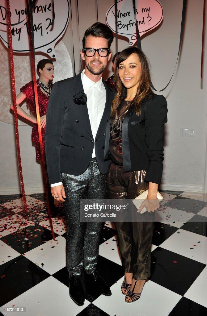 Stylist Brad Goreski (L) and actress Rashida Jones attend Lanvin And Living Beauty Host An Evening Of Fashion on April 26, 2014 in Beverly Hills, California.