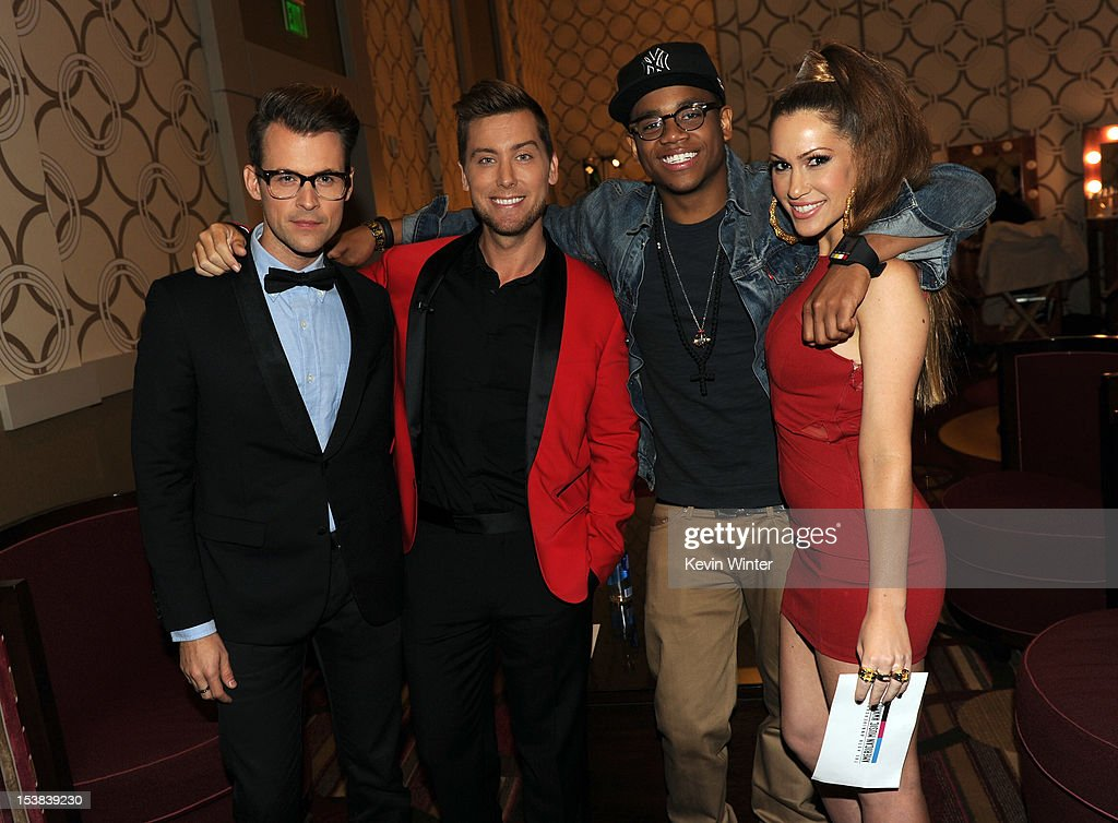 Stylist Brad Goreski, singer Lance Bass, actor Tristan Wilds, and singer Kimberly Cole pose during the 40th Anniversary American Music Awards nominations press conference at the JW Marriott Los Angeles at L.A. LIVE on October 9, 2012 in Los Angeles, California.