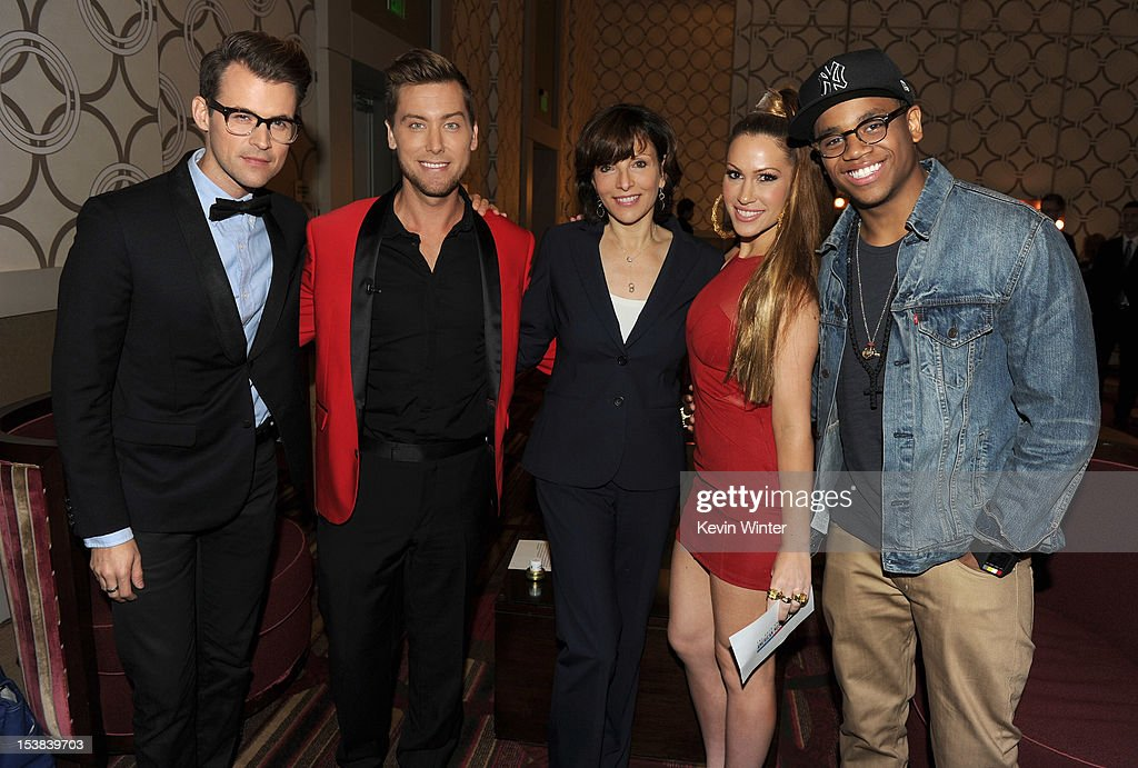 Stylist Brad Goreski, singer Lance Bass, President of Dick Clark Productions Orly Adelson, singer Kimberly Cole, and actor Tristan Wilds pose during the 40th Anniversary American Music Awards nominations press conference at the JW Marriott Los Angeles at L.A. LIVE on October 9, 2012 in Los Angeles, California.