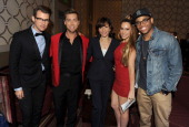 Stylist Brad Goreski singer Lance Bass President of Dick Clark Productions Orly Adelson singer Kimberly Cole and actor Tristan Wilds pose during the...