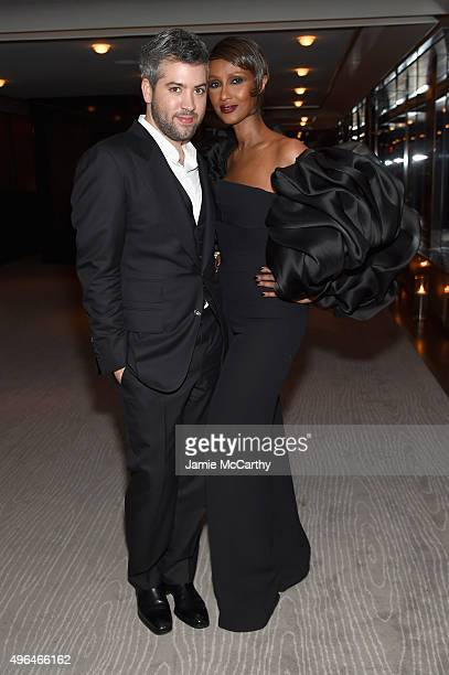 Stylist Brandon Maxwell and model Iman attends the 2015 Glamour Women of The Year Awards dinner hosted by Cindi Leive at The Rainbow Room on November...