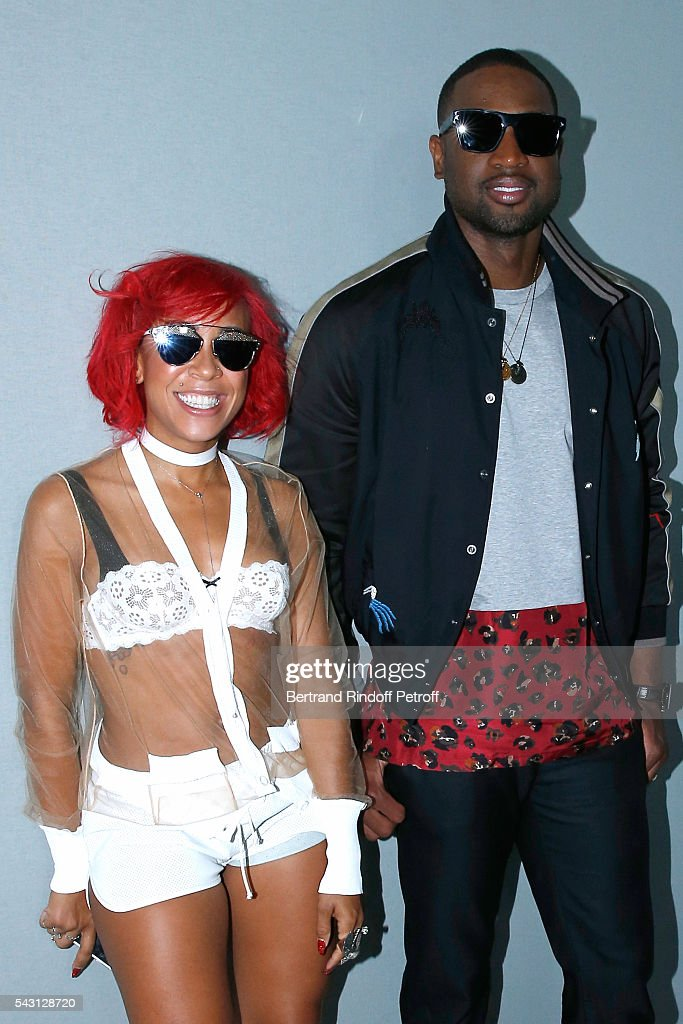 NBA Stylist Calyann Barnett and Basket-ball player <a gi-track='captionPersonalityLinkClicked' href=/galleries/search?phrase=Dwyane+Wade&family=editorial&specificpeople=201481 ng-click='$event.stopPropagation()'>Dwyane Wade</a> attend the Lanvin Menswear Spring/Summer 2017 show as part of Paris Fashion Week on June 26, 2016 in Paris, France.